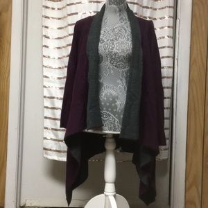 Long Wine-Color Open-Front Cardigan